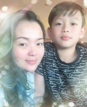 With my #plusone ♥️ Always ... #forever ... my baby ... @sebastianm4x ♥️ • • • #instafamily #fam #meandmommy #momandme #mermaidhair #mermadians #idontplaniplay #bluehair #greenhair #bali #balibound #airportlife #family #instaboy #instakid #beautygram #beautylover #beautyful #clozette #clozetteid