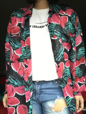 """Wearing a semi ripped jeans (my own custom made ripped jeans), Lovers Trouble """"pervert"""" T-shirt, and a vintage watermelon print button up shirt.  I love mixing patterns with a simpler shirt and add jeans to get a more fresh and casual look."""