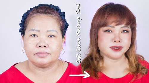 (ing/ind) Makeover Into Soft Glam Makeup Ft My MOM ❤️ - YouTube