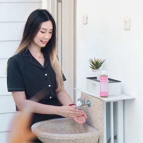 """#Repost from Clozette Ambassador @amandatorquise.  Our skin absorb everything! Including chemical ingredients from our daily care, that's why it's better to choose the less chemical synthetic.   I've been using @drbronner.id for 1 year and really excited cause this  month they launched a new variant """"Cherry Blossom"""". 🌸 Sweet, fresh and calming. Definitely a stress reliever while at home.  Only use pure organic essential oil,  with vegan formula, biodegradeable and cruelty free.  Exclusive travel set bundle promo on  @tokopedia !!  . . . #CheerfulBlossom #PurestOrganicSoap #DrBronnerID #DrBronners #JbbInsider #JakartaBeautyBlogger #Clozetteid"""