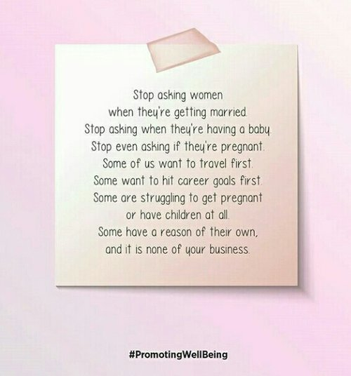 "Repost from @wangsajelita. This quote is TRUE indeed. Let's respect others w/ not asking such things that not our business. Every women/people have their OWN problem, vision, mind. We don't have a right to make them feel ""INSECURE"" w/ kind of those question #quoteoflife #ClozetteID #respectother #stopkepoisme"