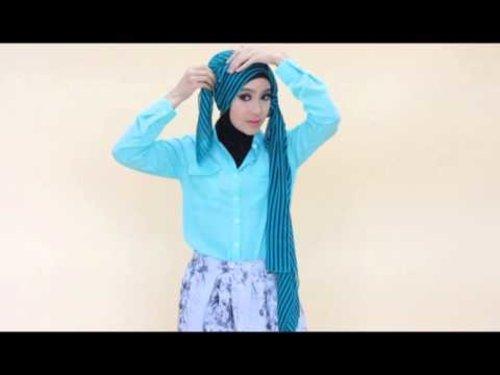 Tutorial Hijab Stripe Turkish Style - YouTube