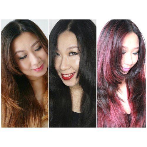 From light brown to black saphire, and from black saphire to intense red - violet brown. And the last one is absolutely my favorite!  #lorealexcellencefashion #lembaranbaru #lorealparisid #clozetteid #makeupmadness #makeupjunkie #haircolor #hairstyle #hudabeauty #mayamiamakeup #makeupmafia #berrywendy #dollskill  #fotdibb #potd
