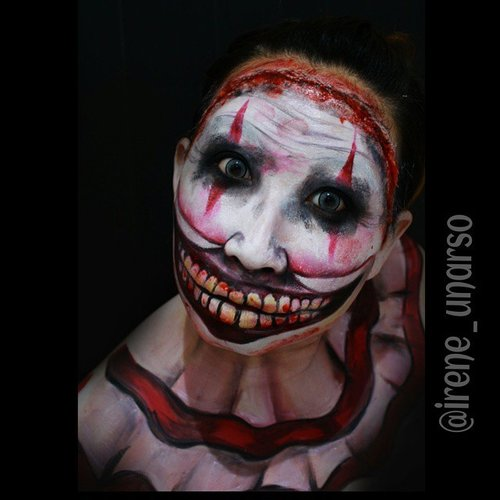 Closer look of my Twisted Clown of American Horror Story recreate from Lex Madeyewlook  Im not a big fan of American Horror Story or Clown. But i am a hell big fan of @creativeboss !! Product used : @mehronmakeup #paradisemakeupaq basic palette and clown white i bought a couple day before from @makeupuccino  @sugarpill love + and buttercupcake and bulletproof  #creepymakeup #creativeboss #mehronmakeup #lespinceauxdecaro #jinnymakeup #beautygoesbad #dehsonae #jordanhanz #DesignsByDane #mariamalone1122 #jewshopalot #mykie_ #laurajsfx #belajarmakeupjakarta #instamakeup #instamua #muajakarta #fotdibb #clozetteID #potd #blendthatshit #sfx #specialeffectsmakeupartist