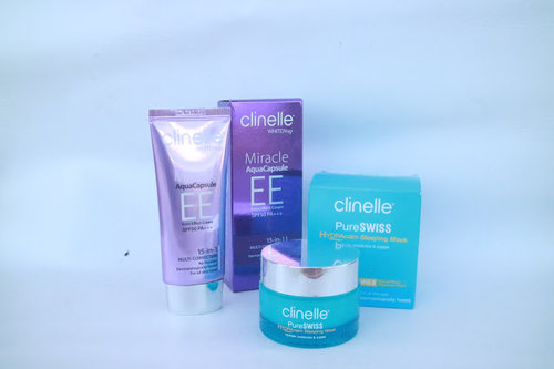 ILUNGA: REVIEW : CLINELLE PURE SWISS HYDRACALM SLEEPING MASK AND CLINELLE WHITEN UP MIRACLE AQUA CAPSULE EE CREAM