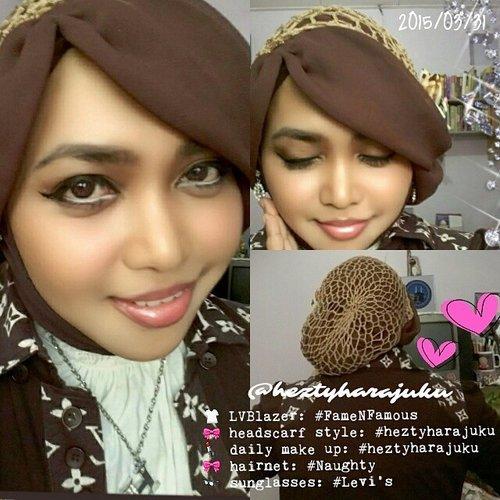 "☕🍫☕#dailymakeup and #headscarf #stylish by #heztyharajuku / #HestiSensei ☕🍫☕ #ootd #hotd #dailysnaps ...As Sweet as Chocolate, as Strong as Coffee... ""😅😅😅#coffeholic #chocolatelover #ClozetteID #scarfmagz #fashion #style #modestfashion #coveredstyle 🎀 | #lvpattern #blazer : #famenfamous #factoryoutlet | #headscarf #style by @heztyharajuku | #fashionhairnet : #naughtyaccessories 🎀"