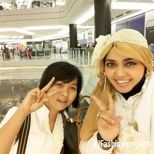 July 20th, 2015🚗🚞🚘 #JFashionJumpers #FashionCommunity #Jakarta #Indonesia in JFJ gathering / #halalbihalal … With my #pairingstyle #partner @ichisannakuro . We looks like mocachino in white-beige-brown #vintagefashion . Inspired by #dolkykei #TokyoStreetFashion 🎀💖🎀 #ootd #hotd #fashion #style #instafashion #modestfashion #boyish #modesty #stylish  #scarf #headscarf #vintagestyle  #eidholiday #kawaii  #Eid2015 🌸🍥🌸… exploring #Japanese shopping mall  @aeonmallbsdcity as #stylishtraveler #travelvlogger #aeonmallbsdcity #clozetteid