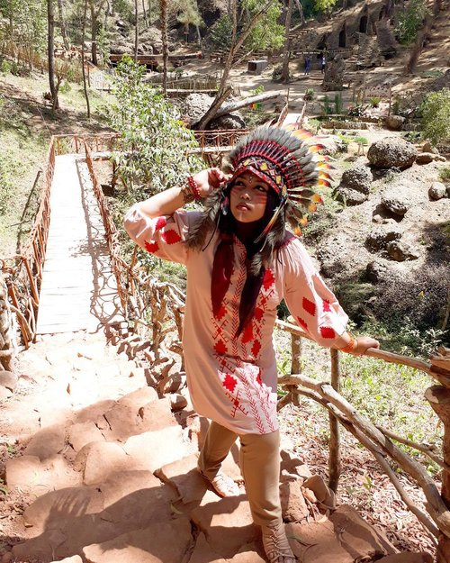 "Wed, August 16th, 2017--- ""#Pocahontas will protect you , #MotherEarth !..."" 🌲🌎⛺ - - - Theme : #Apache #Warrior #Princess  #Photographer : @dewirahmawati29 Location : #Imogiri #PineForest #Yogyakarta Model: #HestiHarajuku Camera: #SamsungJ7Prime #warbonnet : @waroeng_indian_apache - - - - - - - #clozetteid  #modestwear #hijabtraveler #hootd #Indian #Yogyatrip #VisitYogya"