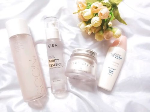 Morning! Pagi ini aku mau share #morningroutine skincare yang biasa aku pakai sehari-hari. Most all product had been reviewed in my blog, you can find them through my link on bio.  Featured product: @soonplus_official 5.5 Probiotic Water @the.cura snail purity essence @altheakorea fixer cream @skinaquaid UV mild milk SPF 25 PA ++ Alasan kenapa aku pilih kombinasi produk tersebut, simply because its moisture untuk menjaga supaya kulit aku tetap lembab buat beraktivitas sepanjang hari.  Kalau kalian apa nih resep #amskincare andalannya? ➖ 🎵@iksonofficial . . . #skincare #skincarecommunity #skincarejunkie #skincareaddict #skincarelover #skincareritual #kbeauty #koreanbeautyproduct #kbeautyunicorns #kbeautyblogger #koreanskincare #kbeautycommunity #abcommunity #asianskincare #abskincare #abbeatthealgorithm #discoverunder5k #rasianbeauty #beautyflatlay #beautyfavorites #skincareblogger #qupas #morningskincare #idskincarecommunity #clozetteid