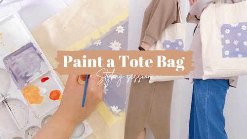 Painting My Tote Canvas Bag + Styling Session   Aesthetic Lilac Tote Bag - YouTube