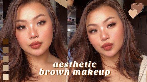 aesthetic brown makeup tutorial. 🤎  (simple + easy) ♡ beginner friendly! - YouTube