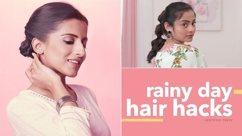 Hair Hacks For Rainy Days | Glamrs Hairstyles & Hacks - YouTube