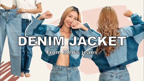 DIY DENIM JACKET from Men's jeans - Great way to recycle old jeans - YouTube