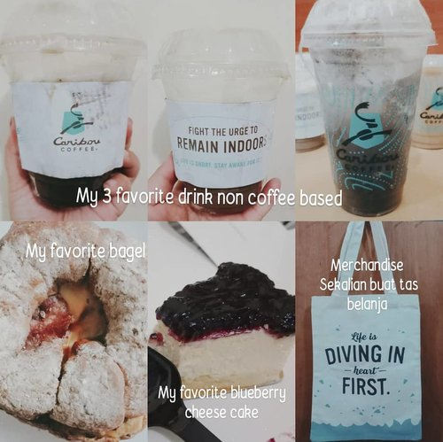 Jajanan Tasya. Pokonya, tiada hari tanpa jajan 😅 . These are from one of my favorite coffee shop yang bakal close for good 😶. Inget bgt dulu pernah kerja deket salah satu cabang Caribou dan hampir tiap hari beli kopi disitu. So sad bakal close padahal dessert sm bagelnya enak2 bgt. Minuman chocolate nya juga enakk 🙁. Jadilah kemaren order through Go Food for the last time. Skalian beli merchandise buat kenang2an hahahaha.  In frame :  1. Frozen hot chocolate size M 2. Dark chocolate raspberry truffle mocca cooler  3. Beef bac and egg bagel 4. Blueberry Cheesecake  5. Tote bag 6. Iced java brulee latte (not in frame)  #Clozetteid #foodie #foodstagram #foodgawker  #kulinerjakarta  #foodporn #foodstagram  #foodgasm #mouthgasm  #food52 #foodtruck #foodpic #jktgo #manualjkt #jakartafoodbang #jktfoodbang  #jktfood  #tasyaeats #foodphotography  #coffeeshop #coffee #dessert #chocolate #chocolatedrink #cafe  #foodporn #foodgasm #mouthgasm