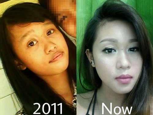 """Hello! ❤  I'm Back with my puberty picture. On the left, i was in senior high school (2011). and on the right, me right now. I know, this is a very big change in me physically. . I don't care about my self before since my beloved auntie @ini_alidi ask me """"Don't you want to take care of your body and your face?, You will be a woman, not a girl anymore. Try to change your style and learn about makeup"""". Then i think that she is right. I need to change my style and learn more about skincare and makeup. I start to wash my face and use moisturizer everynight.  Use a powder, lipice then lipstick, eyebrow, blush on and etc.  And she who introduced me first to makeup @ini_alidi ❤ till i can be a beauty blogger right now. I just wanna say thank you auntie 💕 . This is my story, where is yours?  #pubertychallenge #puberty #beforeandafter #makeup #beautyblogger #feelinglucky #itsanatte #clozetteid #clozette #beautychannelid #makeupjunkie #beautynesiamember #beautynesiaid #skincare"""