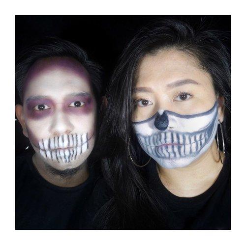 Happy Halloween, Btches!  Well, i have new canvas for doodle-ing this year. Thank you loh @andi_taufik 😏 • • • #clozetteid #SOCOBeautyNetwork #IndoBeautyBlogger #halloween #halloweenmakeup #witchcraft #skull #skullart #skullmakeup