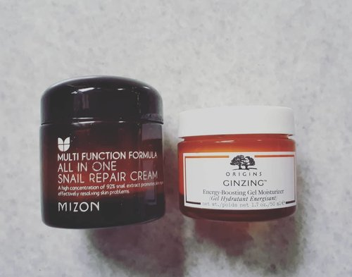 Day 12 of  #skinemmies2018 PM MoisturizerChallenge hosted by @antiagingamber and @morethanjustskin This year I tried both of them as PM moisturizer. They're both lightweight moisturizer, non sticky so it's good for skin condition like mine. My favorite is from @mizon_official Multifunction Formula All in One Snail Repair Cream. Its like a gamechanger for acne prone skin. The snail mucus on it has a function for reducing acne scars which I really love it!#skincarereview #skincareroutine #skincareobbessed #skincarecommunity #skincareaddict #beautycommunity #beautygram #beautybloggerindonesia #beautynesia #beautyobsessed #indobeautysquad #indobeautygram #indoskincarereview #idskincarecommunity  #ClozetteID #bloggermafia #abbeauty #abcommunity