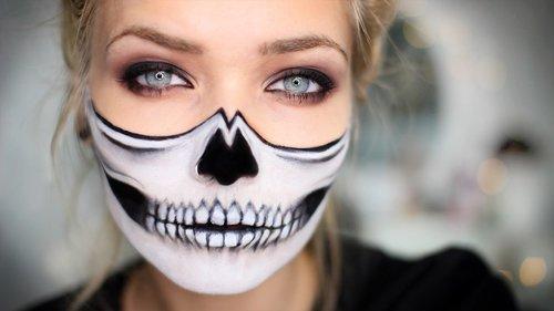 Half Skull Halloween Makeup Tutorial - YouTube