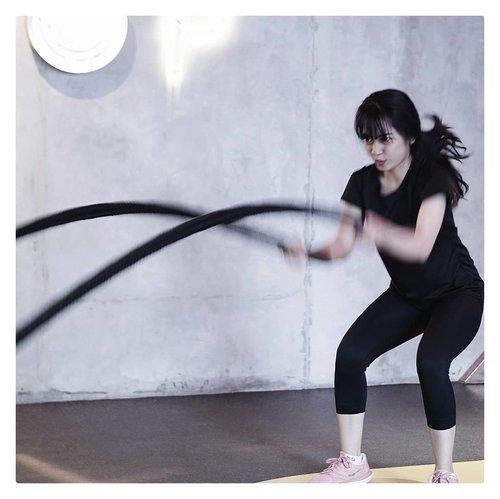 Battle rope training..#clozetteid#cyndaolahraga