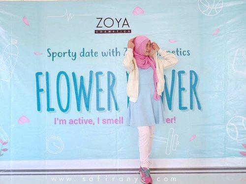 Jangan takut  bau badan habis olahraga! Keringetan mah pasti, tapi bau badan bisa ditutupin sama EDT seri Flower dari @zoyacosmetics! Baca lengkapnya di blogku, ya☺Link di bio~#tribepost #clozetteid #zoyacosmetics #flowerpower #bblogger #pastel #outfit #sporty #ootd #hootd #hijabi #hijabistyle #hijabisportstyle #sportstyle #sportydate #shasoutfit