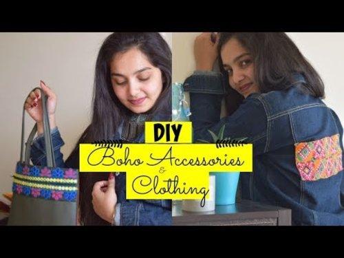 DIY || Boho inspired Accessories+Clothing || Pintrest Inspired Boho Denim Jacket - YouTube