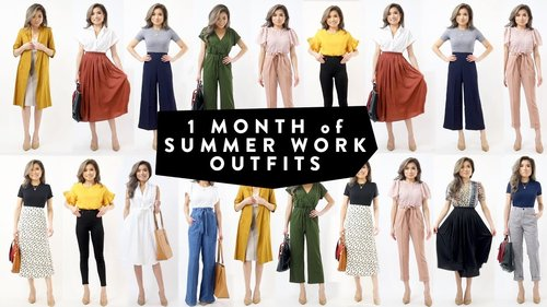 1 MONTH of Summer WORK OUTFIT Ideas | Business Casual Work Office Wear Lookbook | Miss Louie - YouTube