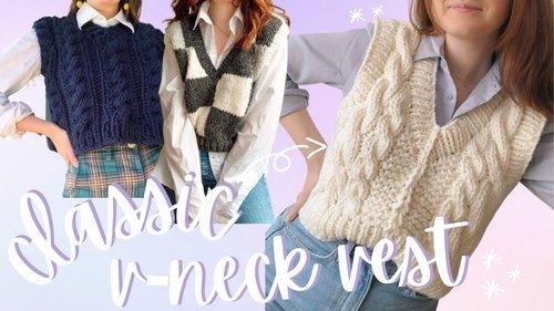 Knit a Classic V-Neck Vest // Step-by-Step DIY, Knitting Pattern - YouTube