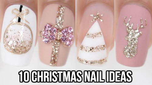 10 Easy Christmas Nail Ideas! | Christmas Nail Art Compilation - YouTube