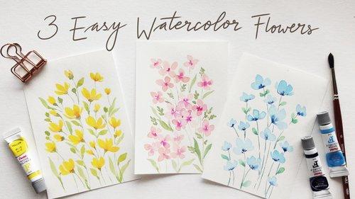 3 EASY beginner friendly watercolor flower doodles - YouTube