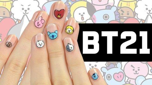BT21 Nail Art Tutorial - YouTube