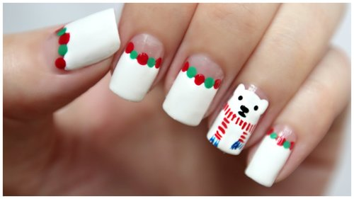 Winter / Christmas Nail Art!!! Polar Bear Wearing A Scarf!   MissJenFABULOUS - YouTube
