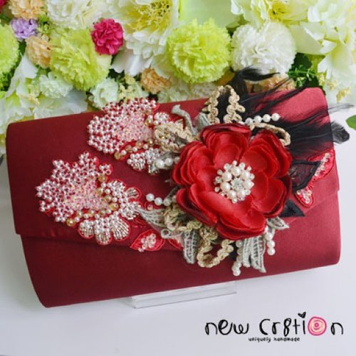 Scarlett Glam Red clutch with heavy beaded lace, handmade poly flower, feathers and other embellishments. PREMIUM ITEM Real Picture #ootd #clozetteid #newcr8tion #taspesta #silver #fashion #handmade #hijabstyle #kondangan #pesta #indonesiacraft #oem #aksesoris #accessory