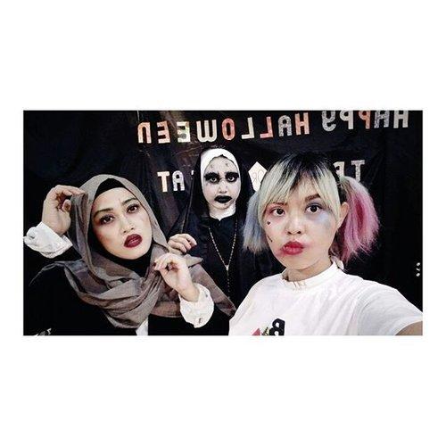 Meet valak @bounche_id 👻👹👻👹 #makeuphalloween #jokerandharley #jokermakeup #harleymakeup #valak #clozetteid #bouncheid #takenbyoppo #oppor7s #anakahensi #ahensilife #socialmediaenthusiast