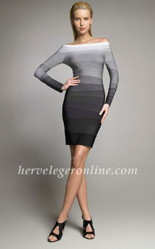Herve Leger Long Sleeves Ombre Bandage Dresses The long sleeves has the powerful and alluring design. can maintain your bodyshape in the elegant way. Powerful and alluring, this dress commands attention.  Off-the-shoulder neckline. Long sleeves.  Ombre-pattern bandages. Center back zipper with hook-and-eye closure. Hits above the knee.  To maintain the beauty of your garment, please follow the care instructions on the attached label. Novelty Ombre: Rayon, Nylon, Spandex.  Tags: Long Sleeves Dresse, Ombre Long Sleeves Dresses