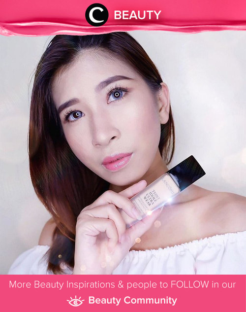 """Trying out the """"Teint Idole Ultra Wear"""" product from Lancome. The foundation is durable and will not make skin look oily and provides perfect results with natural look and matte finish, and can last up to 24 hours. Simak Beauty Updates ala clozetters lainnya hari ini di Beauty Community. Image shared by Clozetter: @chikaliu. Yuk, share beauty product andalan kamu."""