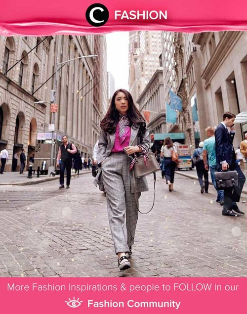 Clozetter @priscaangelina and her uptown girl look in NYC. Super chic with the mix 'n match of plaid co-ord and shocking pink! Simak Fashion Update ala clozetters lainnya hari ini di Fashion Community. Yuk, share outfit favorit kamu bersama Clozette.