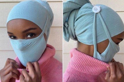 Model Halima Aden Mendesain Masker Wajah Untuk Pemakai Hijab