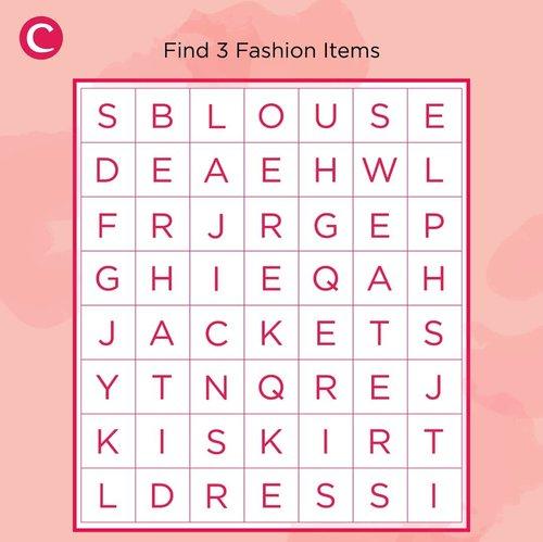 Find the word!Temukan 3 fashion item apa saja yang tersembunyi & tulis jawabannya di kolom komentar yuk 😊#ClozetteID