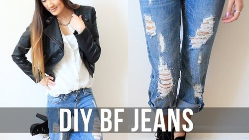 DIY: Distressed Boyfriend Jeans | LaurDIY - YouTube