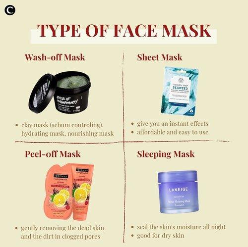 Apa, sih, step skincare favorite kalian? Kalau Clozette Crew suka banget sama maskeran, siapa di sini yang suka maskeran juga?!🙋🏻♀️ selain merawat kukit wajah, mengaplikasikan masker juga bisa jadi salah satu cara untuk relaksasi diri yang menyenangkan. Tapi kalian sudah tau belum apa saja tipe masker wajah yang ada di pasaran? Yuk, intip foto di atas buat kamu yang penasaran👀 #ClozetteID