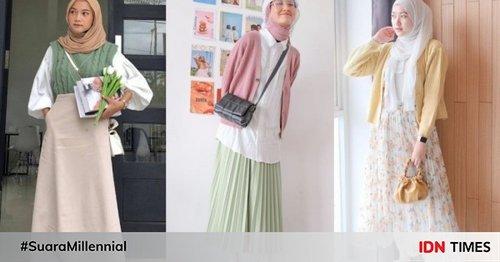 10 OOTD Hijab Stylish Pakai Outer dan Rok Warna Pastel, Imut!