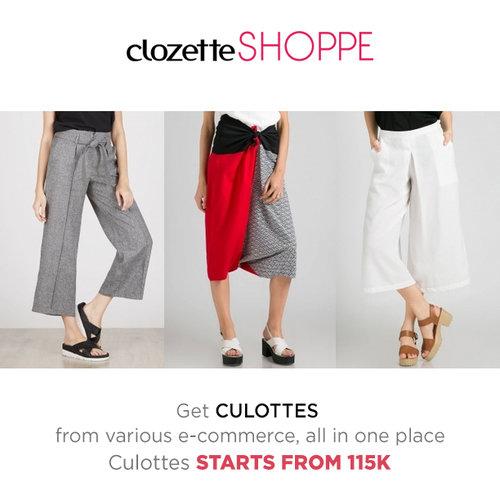 Culottes selalu jadi favorit karena nyaman digunakan sehari-hari. Lengkapi koleksi culottesmu dengan belanja culottes MULAI 115K dari berbagai e-commerce site via #ClozetteSHOPPE!   http://bit.ly/28XSKzM