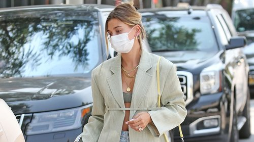 Hailey Bieber Puts a Wearable Spin on Monochromatic Dressing