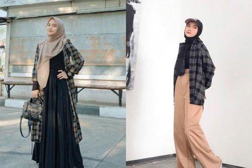 7 OOTD Kemeja Flanel Hijab Estetik yang Santun dan Terlihat Mahal