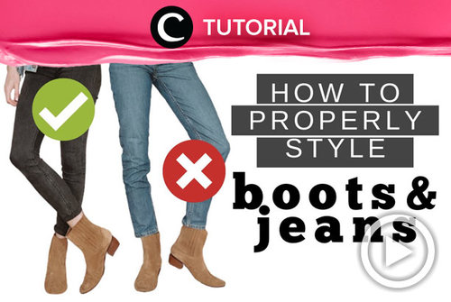 Agar tetap stylish, kamu bisa coba memadupadankan jeans dan boots seperti ini: http://bit.ly/3dRB77m. Video ini di-share kembali oleh Clozetter @ranialda. Lihat juga tutorial lainnya di Tutorial Section.