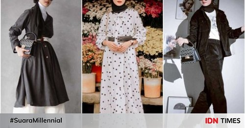 10 Mix and Match Outfit Monochrome dan Hijab ala Inas Rana