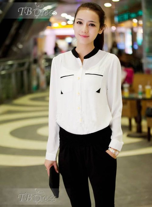 New Korean Style Color Block Long Sleeves  Stand Collar Blouse : Tbdress.com