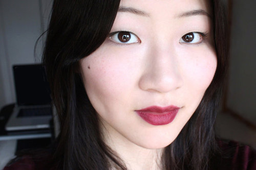 Burgundy wine on lip