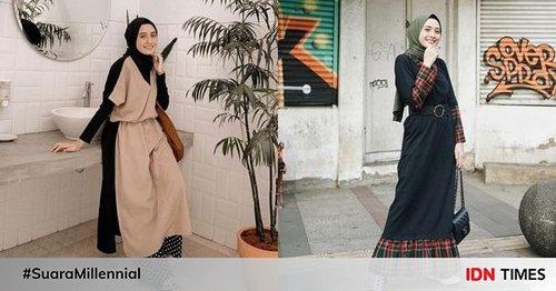 10 Outfit Hijab dengan Tunik dan Dress ala  Helmi Nursifah