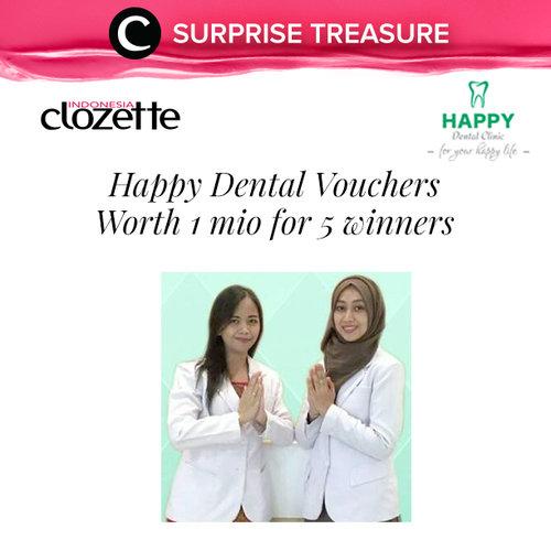 Last surprise treasure for 2017 is here! Untuk menutup tahun ini kami punya voucher Happy Dental senilai 1 juta rupiah masing-masing untuk 5 orang pemenang!  Tuliskan 5 wishlist kamu di kolom komentar paling lambat 25 Desember 2017.  5 komentar tercepat dan terbaik akan berkesempatan memenangkan hadiahnya. Good luck!